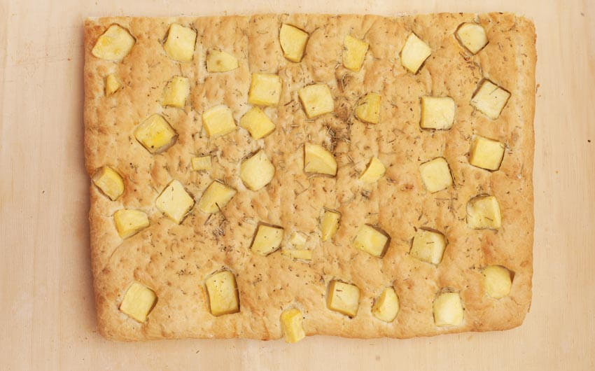 Genovese focaccia bread with potatoes